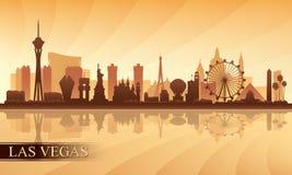 Van de de stadshorizon van Las Vegas het silhouetachtergrond Stock Foto