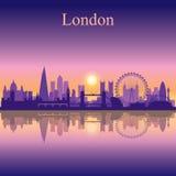 Van de de stadshorizon van Londen het silhouetachtergrond Stock Afbeelding