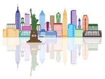 Van de de Stadshorizon van New York de Kleuren Vectorillustratie Royalty-vrije Stock Foto's