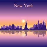 Van de de stadshorizon van New York het silhouetachtergrond Royalty-vrije Stock Fotografie