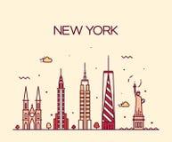 Van de de Stadshorizon van New York van de het silhouetlijn de kunststijl royalty-vrije illustratie