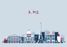 Van de de stadshorizon van Parijs Frankrijk vector Vlakke in Royalty-vrije Stock Fotografie