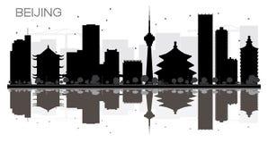 Van de de Stadshorizon van Peking het zwart-witte silhouet met bezinningen stock illustratie