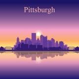 Van de de stadshorizon van Pittsburgh het silhouetachtergrond Stock Fotografie