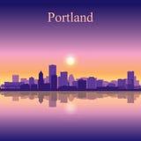 Van de de stadshorizon van Portland het silhouetachtergrond Stock Fotografie