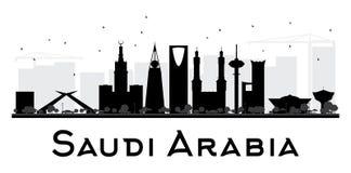 Van de de Stadshorizon van Saudi-Arabië het zwart-witte silhouet stock illustratie