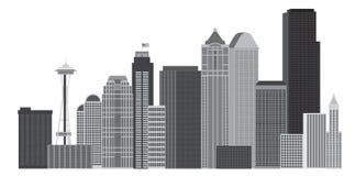 Van de de Stadshorizon van Seattle de Illustratie van Grayscale royalty-vrije illustratie