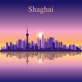 Van de de stadshorizon van Shanghai het silhouetachtergrond Stock Afbeeldingen