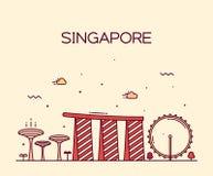 Van de de Stadshorizon van Singapore In vector de lijnart. Royalty-vrije Stock Afbeelding