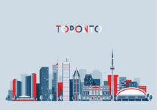 Van de de Stadshorizon van Toronto Canada de Vlakke In Vector Stock Afbeelding
