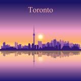 Van de de stadshorizon van Toronto het silhouetachtergrond Stock Foto's