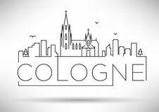 Van de de Stadslijn van Keulen het Silhouet Typografisch Ontwerp Royalty-vrije Stock Afbeelding
