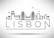 Van de de Stadslijn van Lissabon het Silhouet Typografisch Ontwerp Royalty-vrije Stock Afbeeldingen