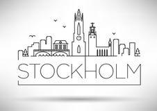Van de de Stadslijn van Stockholm het Silhouet Typografisch Ontwerp Stock Foto's