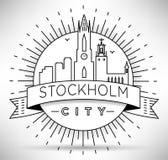 Van de de Stadslijn van Stockholm het Silhouet Typografisch Ontwerp Stock Afbeeldingen