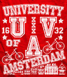 Van de de Stadsmens van Amsterdam Universitair de T-shirt Vector Grafisch Ontwerp Stock Foto