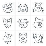 Van de de Stijlpret van lijnpictogrammen de hondpictogram Royalty-vrije Stock Foto