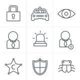 Van de de Stijlveiligheid van lijnpictogrammen het pictogramreeks Royalty-vrije Stock Foto