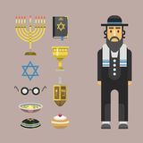 Van de de symbolen hanukkah godsdienstige synagoge van de judaïsmekerk de traditionele vector van het karakterjood passover Hebre Stock Foto's