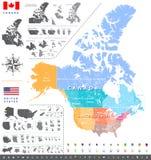 Van de de tellingsdienst van Verenigde Staten de afdelingenkaart van de gebieden ANS; De Canadese kaart van gebieden, van provinc Stock Foto's