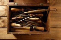 Van de de timmermanshand van Craftman de hulpmiddelenkunstenaar Stock Foto's
