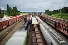 Van de de treinwerf van Seattle Interbay de donkere hemel Stock Fotografie