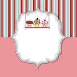 Van de de uitnodigingskaart van Cupcake de vectorillustratie Royalty-vrije Stock Foto's
