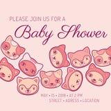 Van de de uitnodigingskaart van de babydouche de kattenthema Stock Fotografie