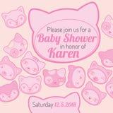 Van de de uitnodigingskaart van de babydouche de kattenthema Stock Afbeelding