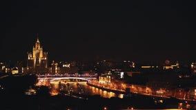 Van de de Universiteitstoren van de Staat van Moskou mening van de timelapsenacht de toneel van Moskou stock videobeelden