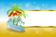 Van de de vakantieligstoel van het achtergrond abstracte de zomerstrand van de paraplu blauwe gele strepen gouden het kaderillust Stock Foto's