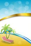 Van de de vakantieligstoel van het achtergrond de abstracte de zomerstrand illustratie van het de paraplu blauwe gele verticale g Royalty-vrije Stock Afbeelding