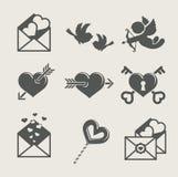 Van de de valentijnskaart\ \ \ 's dag van heilige het vastgestelde pictogram Royalty-vrije Stock Afbeeldingen
