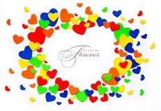 Van de de valentijnskaartdag van de kunst de liefdeharten op een wit Royalty-vrije Stock Afbeeldingen