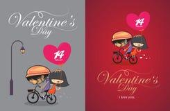 Van de de valentijnskaartendag van het beeldverhaalontwerp het uitstekende ontwerp Stock Afbeeldingen