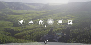 Van de de Verbindingsglobalisering van de landbouwlandbouwgrond de Technologieconcept Royalty-vrije Stock Afbeeldingen