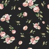 Van de de verf roze bloem van de pastelkleurwaterverf het hand getrokken naadloze patroon Stock Afbeelding