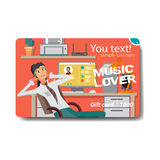 Van de de verkoopkorting van de muziekminnaar de giftkaart Het brandmerken ontwerp voor muziek Stock Foto