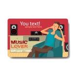 Van de de verkoopkorting van de muziekminnaar de giftkaart Het brandmerken ontwerp voor muziek Royalty-vrije Stock Fotografie