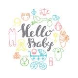 Van de de vieringsgroet en uitnodiging van de babydouche kaartmalplaatje met handletterin stock illustratie