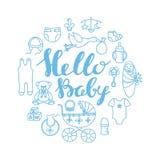 Van de de vieringsgroet en uitnodiging van de babydouche wi van het kaartmalplaatje stock illustratie