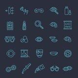 Van de de visiecorrectie van de oogartsoptometrie van de de ogengezondheid de zwarte pictogrammen geplaatst vectorillustratie Royalty-vrije Stock Afbeeldingen