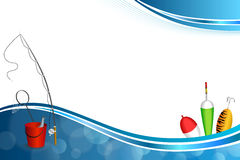 Van de de vissen netto vlotter van de achtergrond de abstracte blauwe witte hengel rode emmer illustratie van het de lepel geelgr Stock Fotografie
