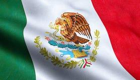 Van de de vlag golvende textuur van Mexico de stoffenachtergrond royalty-vrije stock fotografie