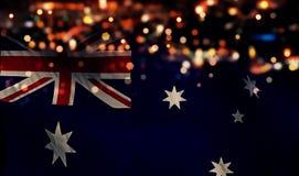 Van de de Vlag Lichte Nacht van Australië de Nationale Abstracte Achtergrond van Bokeh Stock Afbeelding