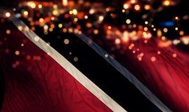 Van de de Vlag Lichte Nacht van Trinidad en van Tobago de Nationale Abstracte Achtergrond van Bokeh Royalty-vrije Stock Afbeelding