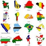Van de de vlagkaart van de wereld de schetseninzameling 02 Stock Foto's