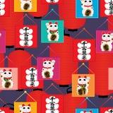 Van de de vlaglantaarn van Manekineko het naadloze patroon stock illustratie