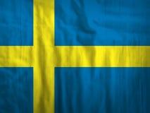 Van de de vlagstof van Zweden de textuurtextiel Royalty-vrije Stock Afbeelding