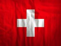 Van de de vlagstof van Zwitserland de textuurtextiel Stock Foto